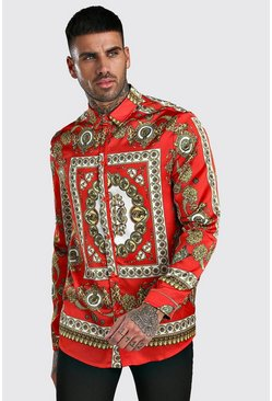 Red Long Sleeve Satin Baroque Print Shirt