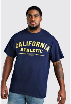 Navy Big And Tall California Varsity Print T-Shirt