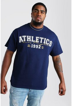 Navy Big And Tall Athletics Varsity Print T-Shirt