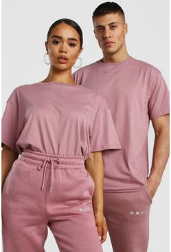 Dusky pink His Raw Edge Loose Fit T-Shirt With Embroidery