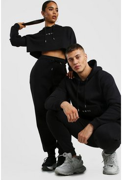 Black His Boxy Fit Hooded Tracksuit With Embroidery