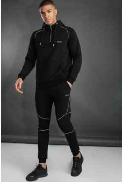 Black MAN Active Tapered 1/4 Zip Tracksuit With Piping