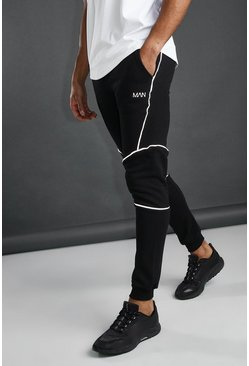 Black MAN Active Tapered Fit Jogger With Piping