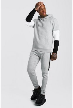 Grey marl Colour Block Hooded Tracksuit