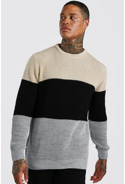 Black Crew Neck Colour Block Jumper