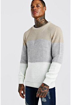 Grey Crew Neck Colour Block Jumper