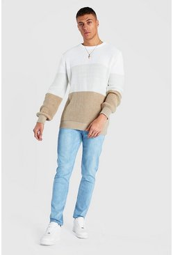 Cream Ombre Colour Block Knitted Jumper