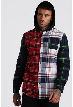 Multi Long Sleeve Mixed Check Shirt With Hood