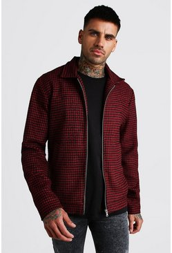 Red Houndstooth Wool Look Zip Through Shacket