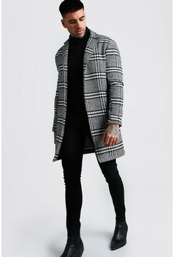 Black Check Wool Look Overcoat