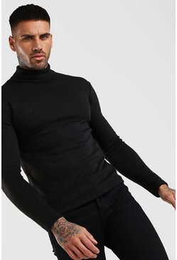Black Muscle Fit Soft Touch Knitted Roll Neck Jumper