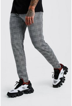 Grey Check Skinny Fit Pants