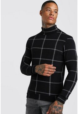 Black Check Roll Neck Muscle Fit Jumper