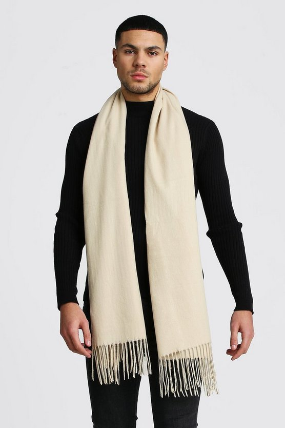 Brushed Tassel Scarf by Boohoo Man