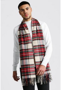 Tassel Edge Check Scarf , Red