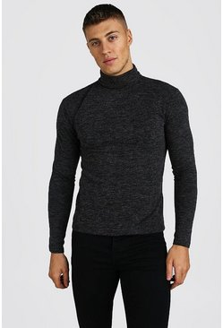 Grey Muscle Fit Soft Touch Knitted Roll Neck Sweater