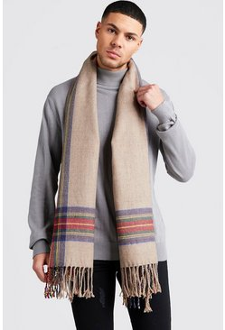 Check Edge Brushed Scarf , Camel