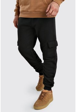 Black Slim Fit Cargo Jogger With Ruching