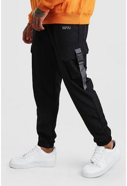 Black Original MAN Shell Buckle Joggers With Strap