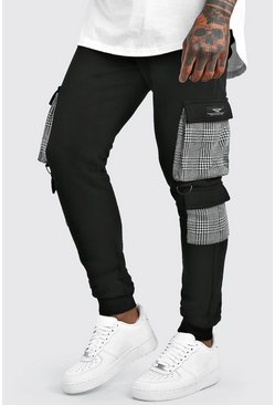 Black MAN Skinny Fit Joggers With Jacquard Cargo Pockets