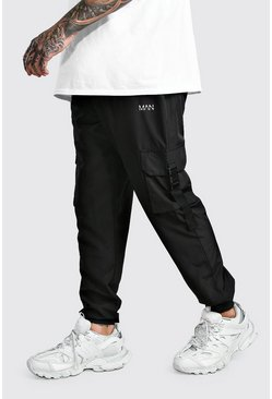 Black MAN Shell Buckle Cargo Joggers With Cuffs