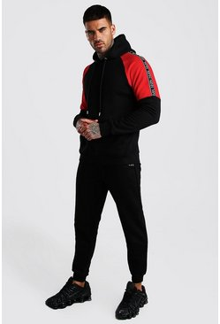 Black Colour Block Hooded Tracksuit With MAN Dash Tape