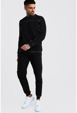 Black Contrast Stitch Loose Fit Sweater Tracksuit
