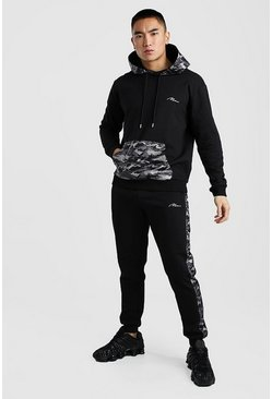 Black MAN Nylon Camo Panel Hooded Tracksuit