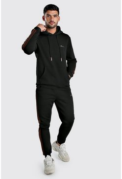 Black MAN Signature Scuba Hooded Tracksuit With Tape