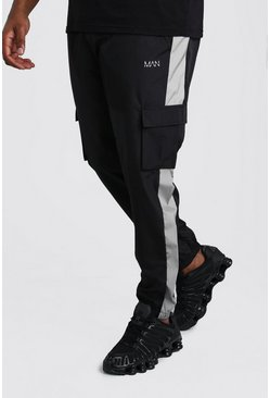Black Big And Tall Shell Cargo Jogger