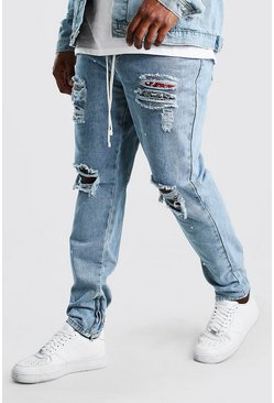 Pale wash Big And Tall Rip And Repair Skinny Jean