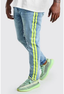 Pale blue Big And Tall Skinny Jean With Side Stripe