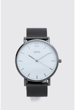 Black MAN Dash Mesh Strap Watch