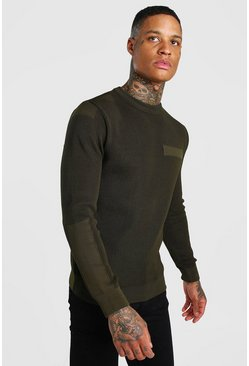 Khaki Knitted Crew Neck Jumper With Utility Detail
