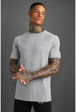 Grey MAN Active Marl T-Shirt With Reflective Detail
