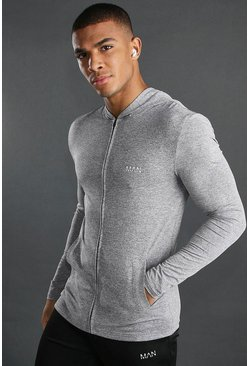 Grey MAN Active Muscle Fit Marl Zip Through Hoodie