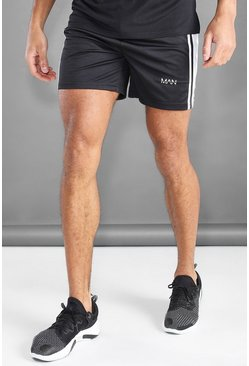 Black MAN Active Mesh Panel Shorts With Tape Detail