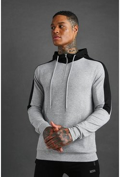 Grey MAN Active 1/4 Zip Panelled Hoodie