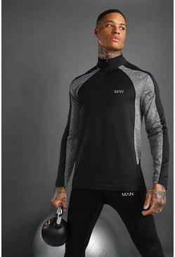 Black MAN Active Muscle Fit Funnel Neck 1/4 Zip Top
