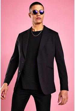 Black Skinny Fit Jersey Blazer