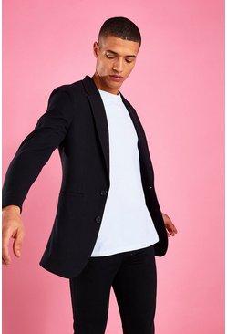 Black Skinny Fit Pique Jersey Blazer