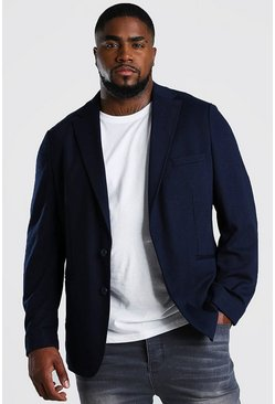 Navy Big & Tall Jersey Blazer