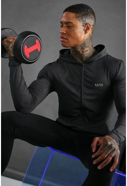 Black MAN Active Muscle Fit Marl Zip Through Hoodie