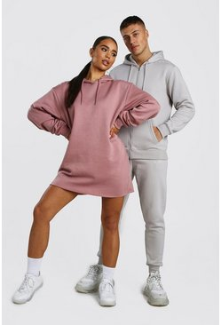 Dusky pink Her Oversized Embroidered Hoody Dress