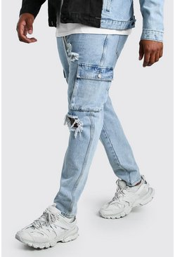Pale wash Big And Tall Skinny Fit Cargo Jean
