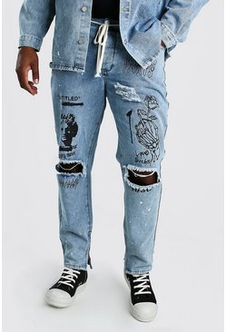 Pale wash Big And Tall Graffiti Print Skinny Jean