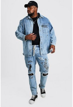 Pale wash Big And Tall Denim Graffiti Print Overshirt