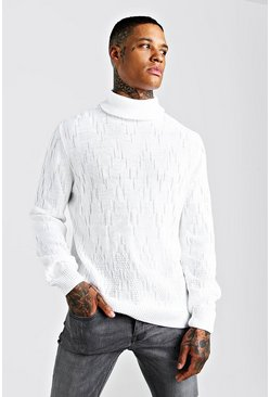 White Pearl Stitch Textured Roll Neck Jumper