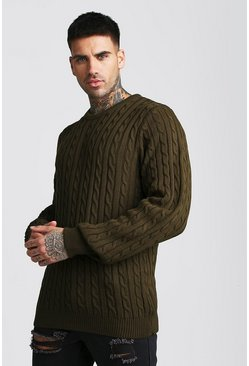 Crew Neck Cable Knitted Jumper, Khaki