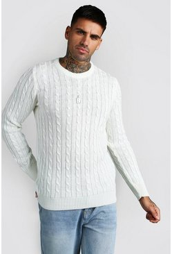 Cream Crew Neck Cable Knitted Sweater